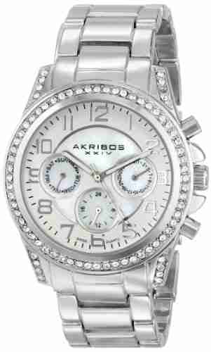 image of the akribos xxiv stainless steel bracelet watch